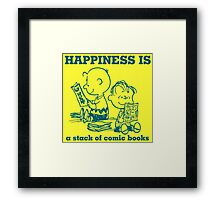 HAPPINESS IS A STACK OF COMIC BOOKS CHARLIE BROWN AND THE PEANUTS Framed Print