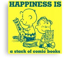 HAPPINESS IS A STACK OF COMIC BOOKS CHARLIE BROWN AND THE PEANUTS Canvas Print