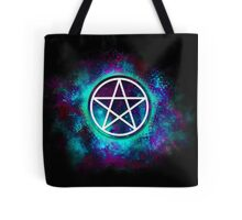 Turquoise & green Wiccan pentacle Tote Bag