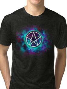 Turquoise & green Wiccan pentacle Tri-blend T-Shirt