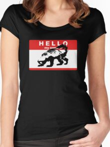Hello My Name Is Honey Badger sticker Women's Fitted Scoop T-Shirt
