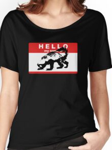Hello My Name Is Honey Badger sticker Women's Relaxed Fit T-Shirt