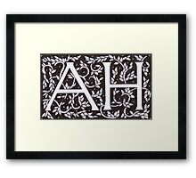 William Morris Inspired AH Monogram Framed Print