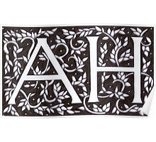 William Morris Inspired AH Monogram Poster