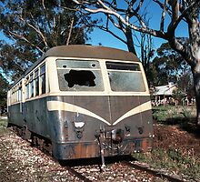 58 MT with broken windscreen Huon railway station siding 1983 06030026 by Fred Mitchell