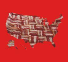 USA - American Bacon Map - Woven Strips Kids Clothes