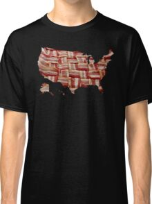 USA - American Bacon Map - Woven Strips Classic T-Shirt