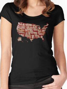 USA - American Bacon Map - Woven Strips Women's Fitted Scoop T-Shirt