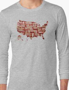 USA - American Bacon Map - Woven Strips Long Sleeve T-Shirt