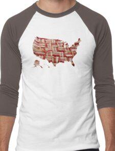 USA - American Bacon Map - Woven Strips Men's Baseball ¾ T-Shirt