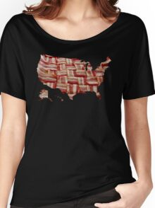 USA - American Bacon Map - Woven Strips Women's Relaxed Fit T-Shirt