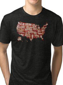 USA - American Bacon Map - Woven Strips Tri-blend T-Shirt