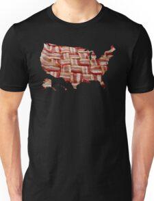 USA - American Bacon Map - Woven Strips Unisex T-Shirt