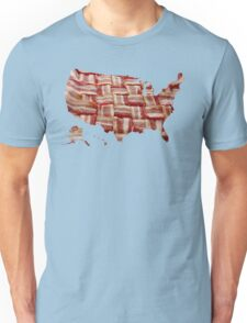 USA - American Bacon Map - Woven Strips Unisex T-Shirt