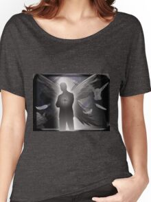 The Grey / Gray Angel with Gargoyles Women's Relaxed Fit T-Shirt