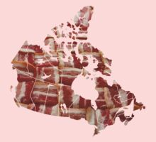 Canada - Canadian Bacon Map - Woven Strips Kids Tee