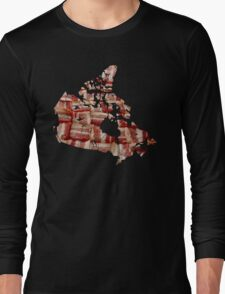 Canada - Canadian Bacon Map - Woven Strips Long Sleeve T-Shirt
