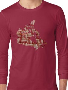 Canada - Canadian Bacon Map - Woven Strips Long Sleeve T-Shirt
