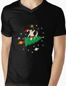 Space Christmas Mens V-Neck T-Shirt