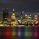 Lights on the river, Perth, WA by BigAndRed