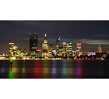 Lights on the river, Perth, WA Photographic Print