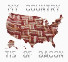 My Country Tis Of Bacon - USA - American Bacon Map One Piece - Short Sleeve