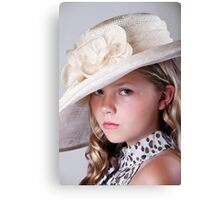Portrait of beautiful girl in hat Canvas Print