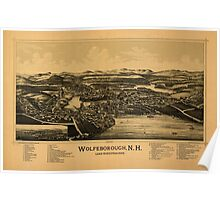 Panoramic Maps Wolfeborough NH Lake Winnipesaukee Poster
