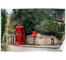 Telephone booth in Stanton, The Cotswolds Poster