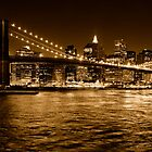 New-York Brooklyn Bridge Panorama at night (Sepia) by André Rizzotti