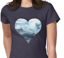 Blue Sky Heart Womens Fitted T-Shirt