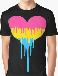 Pansexual Pride Drip Heart Graphic T-Shirt
