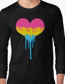 Pansexual Pride Drip Heart Long Sleeve T-Shirt