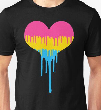 Pansexual Pride Drip Heart Unisex T-Shirt