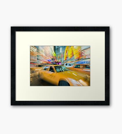 Time Square Yellow Cab (New York City) Framed Print