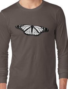 Black and White Monarch Long Sleeve T-Shirt