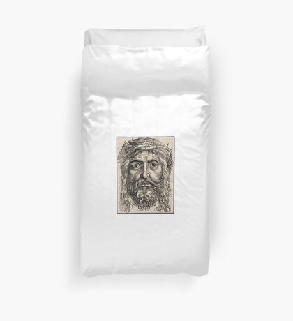 Jesus with crown of thorns Duvet Cover