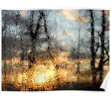 Sun Through Water Droplets Poster