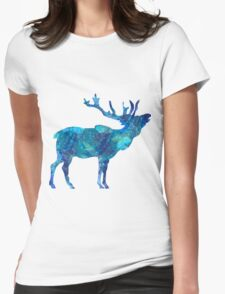 Painted Blue Moose Womens Fitted T-Shirt
