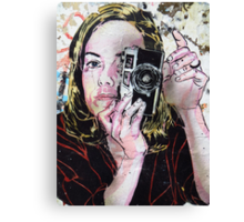 Girl takes polaroid Canvas Print
