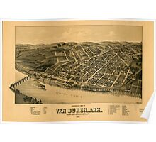 Panoramic Maps Perspective map of Van Buren Ark county seat of Crawford County 1888 Poster