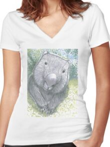 Wombat Women's Fitted V-Neck T-Shirt