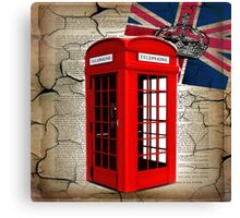 rustic grunge union jack retro london telephone booth Canvas Print