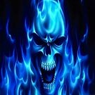 Blue Flames Skull iPhone case by Jnhamilt