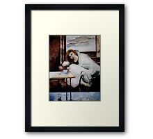 Woman with cranes Framed Print