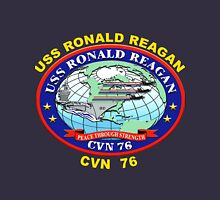 USS Ronald Reagan (CVN-76) Crest for Dark Colors Women's Fitted Scoop T-Shirt