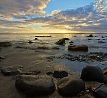 Rock on the edge of the water - 7 Mile Beach, Tasmania, Australia by PC1134