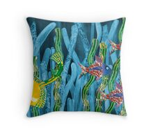 Posidonia oceanica + fishes Throw Pillow