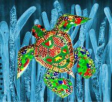 Posidonia oceanica + Sea turtle by joancaronil