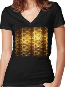 Gold Filaments Women's Fitted V-Neck T-Shirt